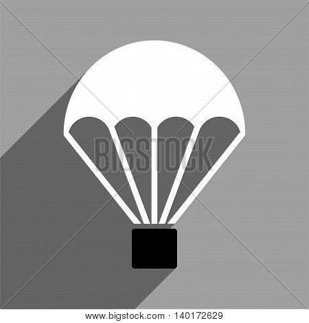 Parachute long shadow vector icon. Style is a flat parachute black and white iconic symbol on a gray square background.