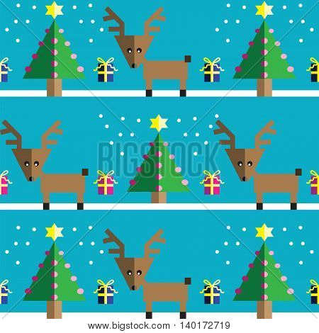 Seamless pattern with geometrical Reindeer, gifts with ribbon, snow, Christmas trees with  pink lights and star element in two shades on light blue background