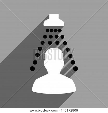 Patient Disinfection long shadow vector icon. Style is a flat patient disinfection black and white iconic symbol on a gray square background.