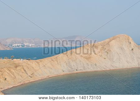 Mountain coastline evening in Crimea. Black sea