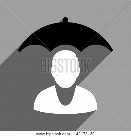 Personal Insurance Protection long shadow vector icon. Style is a flat personal insurance protection black and white iconic symbol on a gray square background.