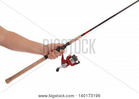 Hand holding fishing tackle isolated on white