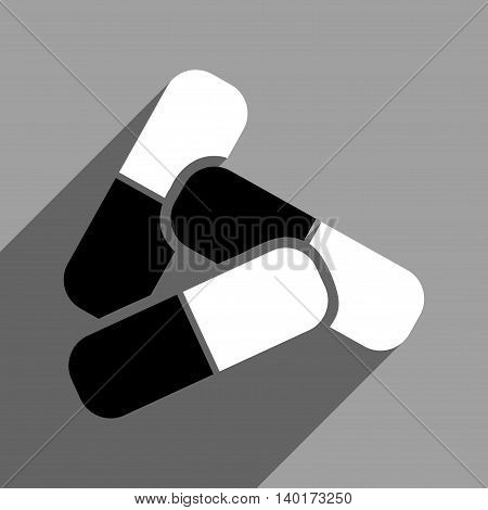 Pills long shadow vector icon. Style is a flat pills black and white iconic symbol on a gray square background.
