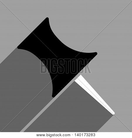 Pin long shadow vector icon. Style is a flat pin black and white iconic symbol on a gray square background.