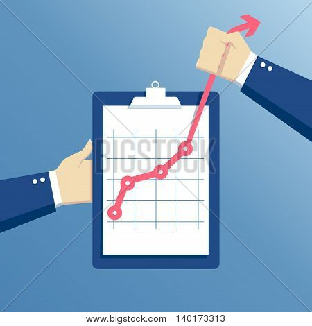 business concept growth effort and going beyond hands holding clipboard with graph hand holds a curve graph