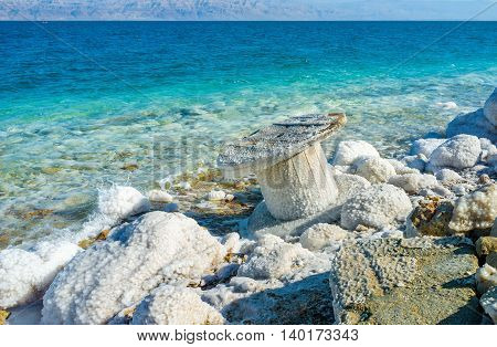 The white stones on the coast make the Dead Sea beaches unusual and interesting Ein Gedi Israel.