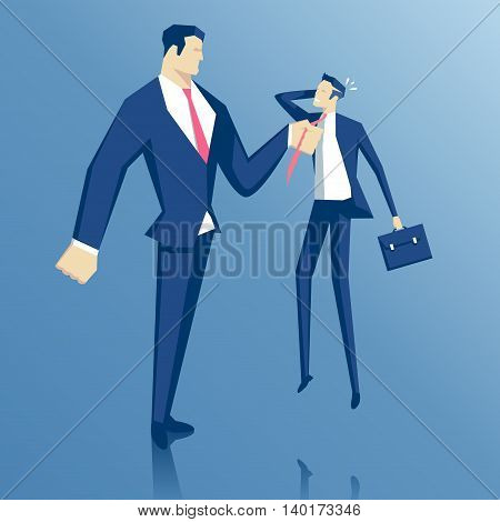 Angry boss grabbed employee for a tie evil chief hold manager for his tie director berates an employee for failure