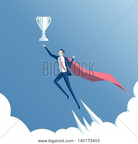 business concept success and mastery a businessman superhero flying through the clouds to the cup