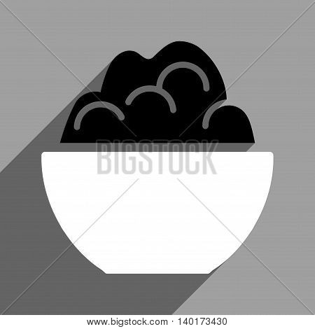 Porridge Bowl long shadow vector icon. Style is a flat porridge bowl black and white iconic symbol on a gray square background.