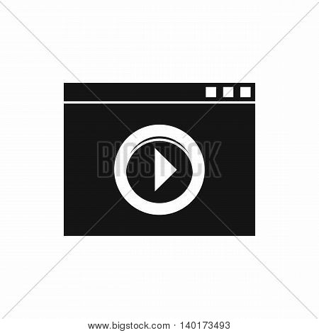 Video player icon in simple style isolated on white background. Movies symbol