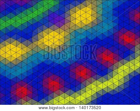 Ornament Low Poly Triangle Style Vector Mosaic Background