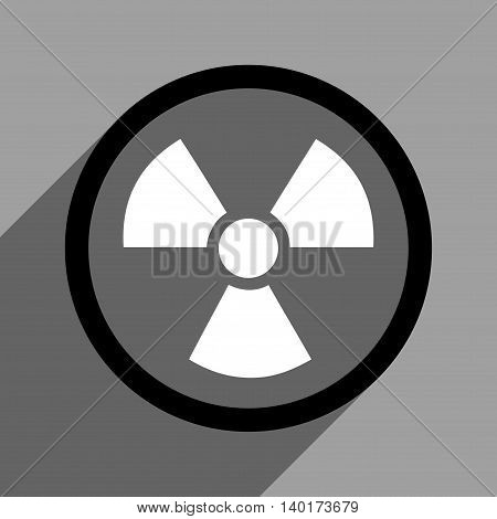 Radiation Danger long shadow vector icon. Style is a flat radiation danger black and white iconic symbol on a gray square background.