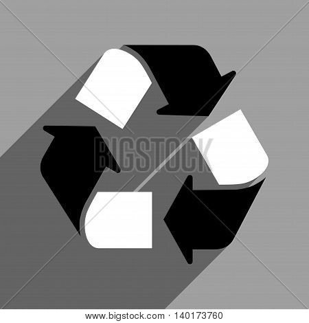Recycle long shadow vector icon. Style is a flat recycle black and white iconic symbol on a gray square background.