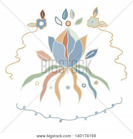 Closed water lily in light colors with flowers, leaves, curly lines. Hand drawn graphics, isolated on white. Vector eps 10. For prints, design, fabric.