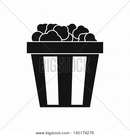 Box of popcorn icon in simple style isolated on white background. Food symbol