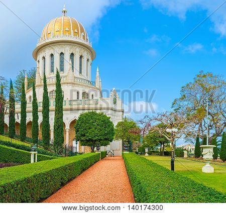 The Bahai Shrine is one of the most famous buildings and locations in Haifa Israel.