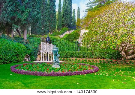 The Bahai Gardens famous for the perfect landscape design and amazing views Haifa Israel.