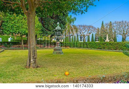 The bright orange on the grass under the tree in Bahai Garden Haifa Israel.
