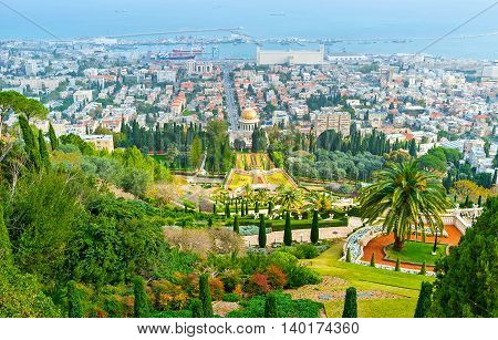 The view of Haifa city and Bahai Gardens and Temple from the top of Carmel Mount Israel.