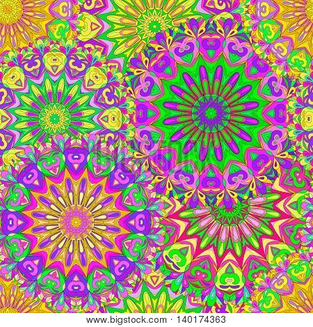 Colorful seamless pattern mandala can be used for wallpaper pattern fills web page background surface textures. Arabic India, Islam.
