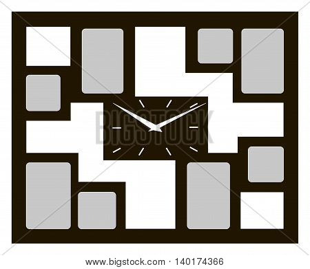 Vector illustration of black clock with foto frame