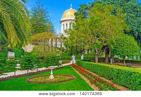 The middle level of Bahai Gardens with the beautiful shrine among the greenery Haifa Israel.