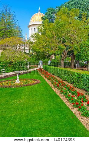 The Bahai Gardens located on the mountain devided into the different levels separated with the gates Haifa Israel.
