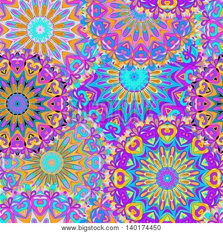 Colorful seamless pattern mandala can be used for wallpaper pattern fills web page background surface textures. Arabic India.