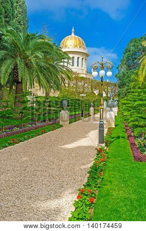 The nice Bahai Garden with the large variety of plants flowers park sculptures and fountains Haifa Israel.