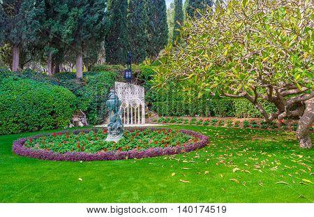 The lazy walk among the beauty of Bahai Gardens Haifa Israel.