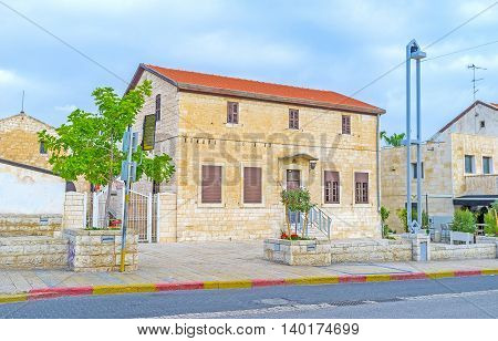 The German Colony mostly consists of small stone cottages nowadays ocupied by tourist objects Haifa Israel.