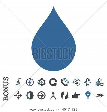Drop vector bicolor icon. Image style is a flat iconic symbol, cobalt and gray colors, white background.