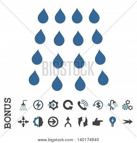 Drops vector bicolor icon. Image style is a flat pictogram symbol, cobalt and gray colors, white background.