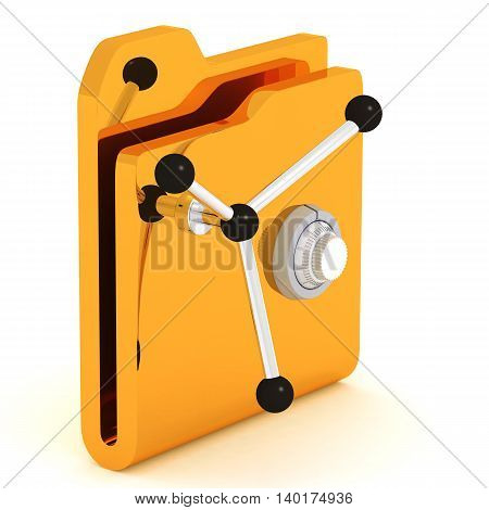 Computer icon for secure folder safe 3D illustration.