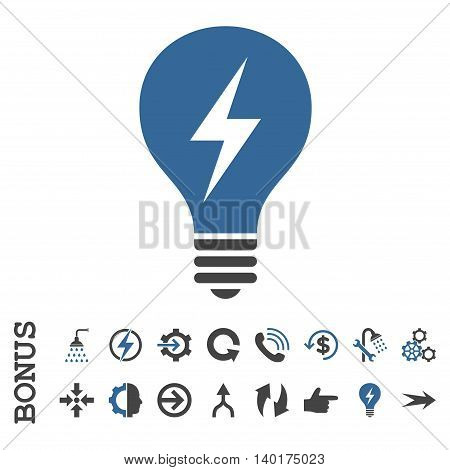 Electric Bulb vector bicolor icon. Image style is a flat pictogram symbol, cobalt and gray colors, white background.