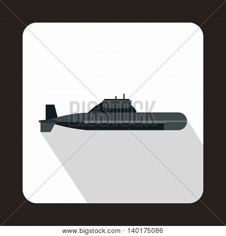 Military submarine icon in flat style with long shadow