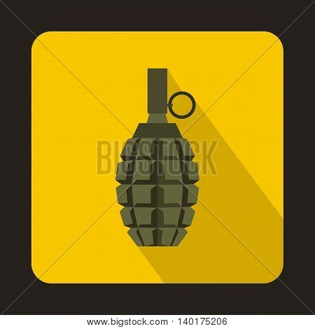 Hand grenade icon in flat style with long shadow