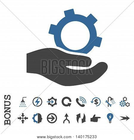Engineering Service vector bicolor icon. Image style is a flat pictogram symbol, cobalt and gray colors, white background.