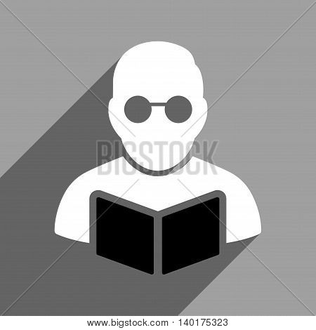 Student Reading Book long shadow vector icon. Style is a flat Student reading book black and white iconic symbol on a gray square background.