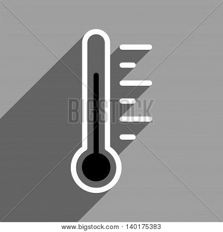 Temperature Level long shadow vector icon. Style is a flat temperature level black and white iconic symbol on a gray square background.
