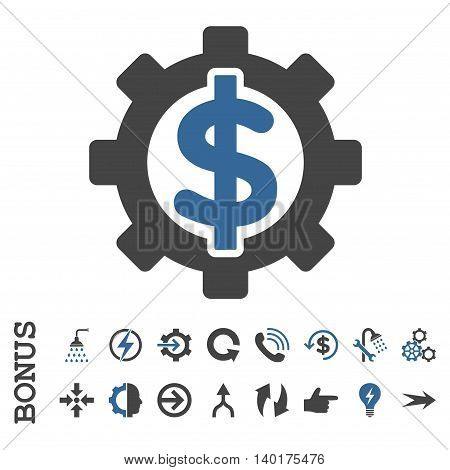 Financial Options vector bicolor icon. Image style is a flat pictogram symbol, cobalt and gray colors, white background.