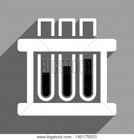 Test Tubes long shadow vector icon. Style is a flat test tubes black and white iconic symbol on a gray square background.