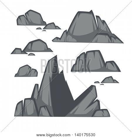 Rock stone cartoon flat style. Set of different boulders . Vector Illustration.