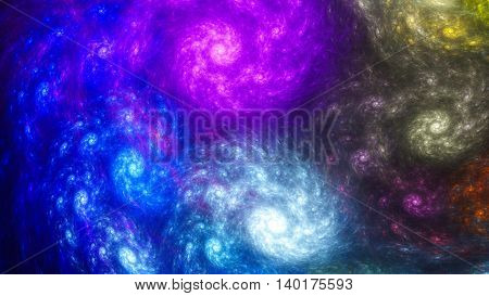 Oil Painting. Rotating galaxy. Storm sky. 3D surreal illustration. Sacred geometry. Mysterious psychedelic relaxation pattern. Fractal abstract texture. Digital artwork graphic design astrology  magic