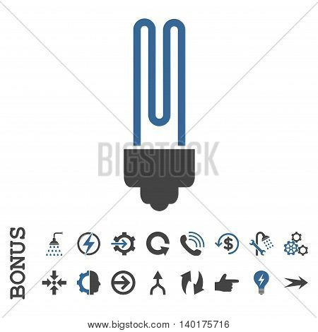Fluorescent Bulb vector bicolor icon. Image style is a flat pictogram symbol, cobalt and gray colors, white background.