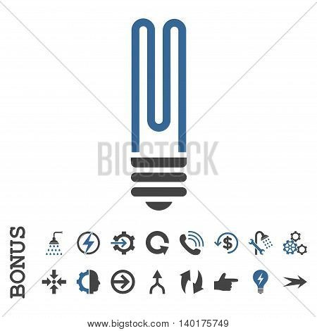 Fluorescent Bulb vector bicolor icon. Image style is a flat iconic symbol, cobalt and gray colors, white background.