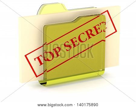 secret files computer icon 3D illustration text top secret