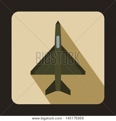 Fighter airplane icon in flat style with long shadow