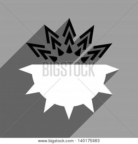 Viral Structure long shadow vector icon. Style is a flat viral structure black and white iconic symbol on a gray square background.