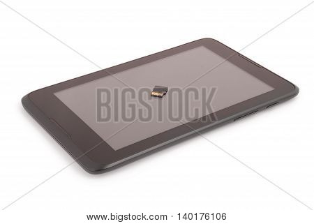 Flash card on the tablet PC. Closeup with clipping path